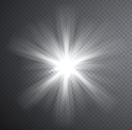 beam of light: White light beam, transparent light effect. Glow with rays.