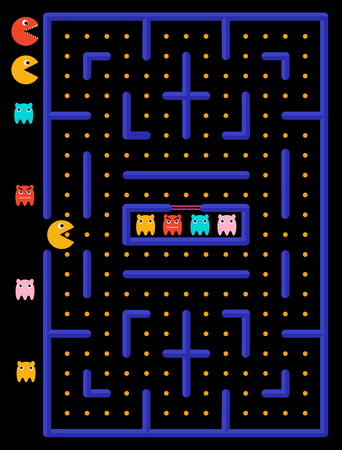Game maze with ghosts. Yellow monster eats yellow circles. Stock Illustratie
