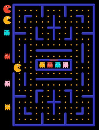 Laberinto de juego con fantasmas. El monstruo amarillo come círculos amarillos.