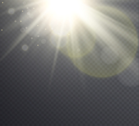 sun flare: Abstract golden sun flare with rays, transparent light effect  on transparent background. .