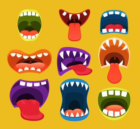 Monster mouths. Funny facial expression, open mouth with tongue.