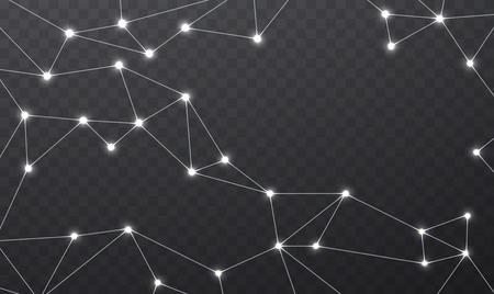 red de comunicación inalámbrica. Geométrica estructura poligonal con malla brillante de color blanco. conexiones a Internet en el fondo transparente.