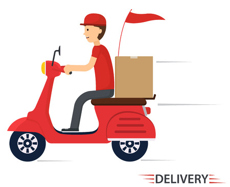 carry on: Delivery service on scooter, motorcycle. Fast worldwide shipping. Illustration