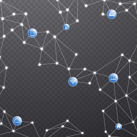 Red de comunicación inalámbrica con los dispositivos conectados. Conexiones de Internet sobre fondo transparente.