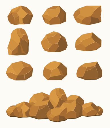 flagstone: Stones and rocks, brown stones boulders. Stone rocks elements of architecture and building.