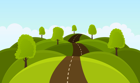 Road on hills among trees and meadows. Summer landscape Illustration