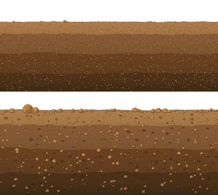 Podziemne warstwy ziemi, gładka powierzchnia. Ilustracje wektorowe