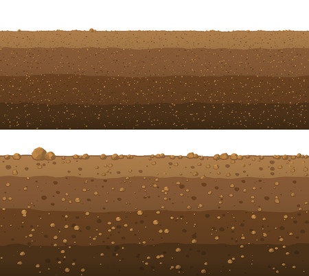 Underground layers of earth, seamless ground surface design. Ilustração