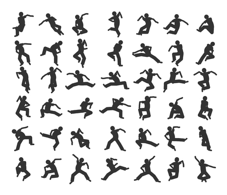 break dance: People in motion in different positions. Set of dancers silhouette.