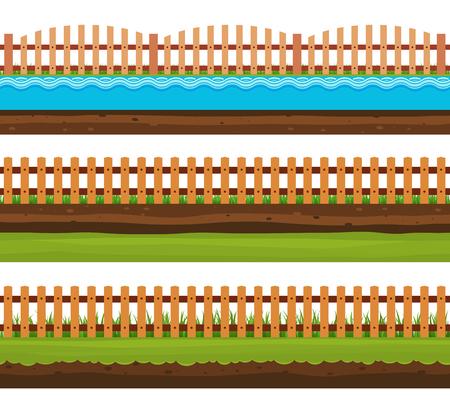 grass land: Seamless grounds soils and land, grass, surface water. Rural garden landscape.