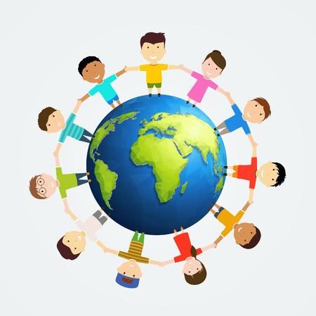Kinderen rond de aarde. Multinationale vriendschap van de volkeren.