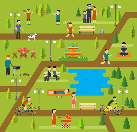 Rest in a public park, Camping in the park, picnic, biking, walking the dog in park, yoga sessions, running in park, holidays by the lake, family holiday in nature.