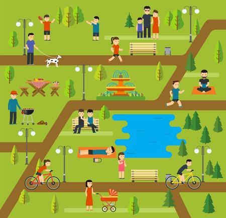 Rust in een openbaar park, kamperen in het park, picknick, fietsen, wandelen met de hond in het park, yoga-sessies, die in het park, vakantie aan het meer, een familie vakantie in de natuur.