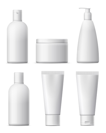 beauty product: Blank cosmetic package set. White plastic bottle, beauty product. ?ollection for cream, shampoo, lotion, foams. isolated on white background.
