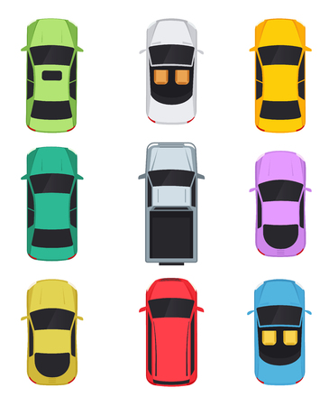 Cars top view, convertible, sedan, pickup, minivan. 向量圖像
