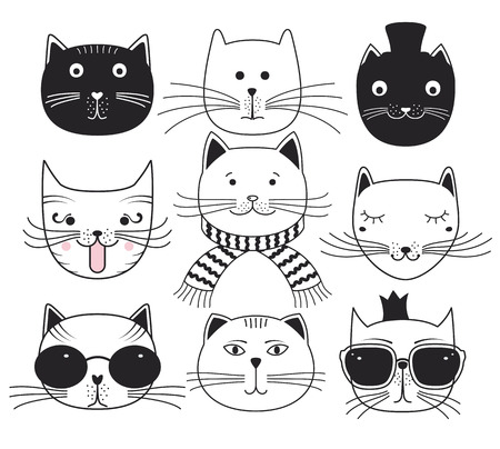 cat: Cute cat heads. Set avatars pets.