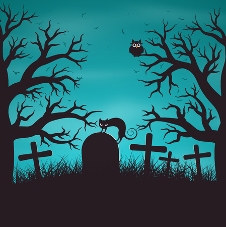 gloomy: Halloween night background in wood on an old graveyard with cat on tombstone. Gloomy blue background with trees, bat, owls.