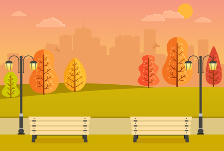autumn park: Beautiful autumn park with benches, yellow and orange trees and city views. Evening park at sunset. Illustration