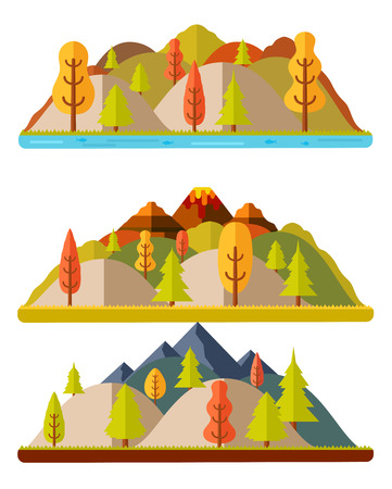 crater highlands: Autumn nature landscapes, hills and mountains. Natural landscapes in a flat style on white background