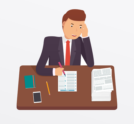 undergraduate: Businessman busy with documents, pile of paperwork sitting at office desk. Concept for  tension, depressed, overworked. Employee or student fills test.