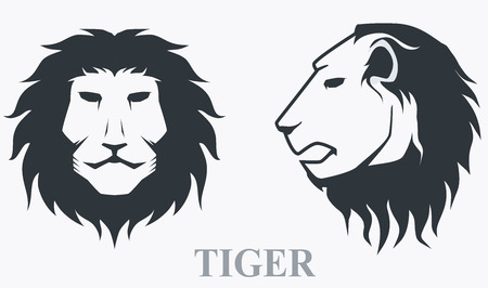 cruel zoo: Tiger head front view and side view Illustration