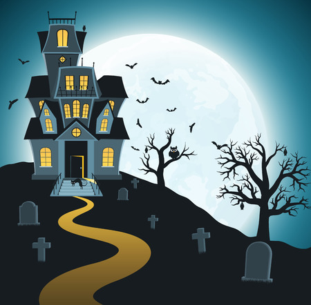 Halloween background with tombs, trees, bats, tombstones, graveyard. Spooky dark forest with dead trees and haunted house on background of bright moon.