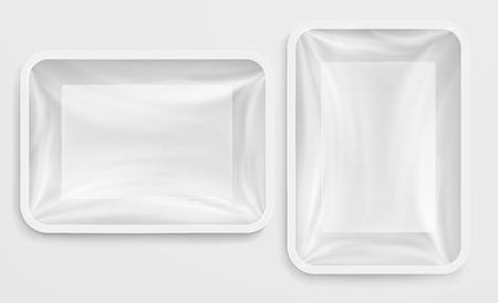 Empty white plastic box food container. Food packaging Imagens - 64830671