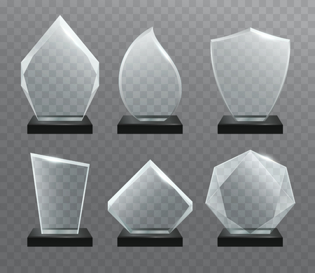 transparency: Glass transparent trophy awards with dark stand.