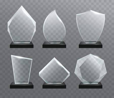 trofeo: Vidrio transparente trofeo premios con soporte oscuro.