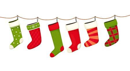 Christmas stockings. Hanging  New year decorations for gifts. Stock Illustratie