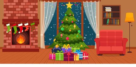 Weihnachtszimmer Interieur mit Kamin, Sessel mit Lampen, Regal für Bücher und grünen Weihnachtsbaum am Fenster. Vektorgrafik