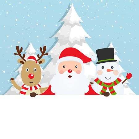 Santa Claus with reindeer and a snowman on snowy background with Christmas trees. Winter greeting card.
