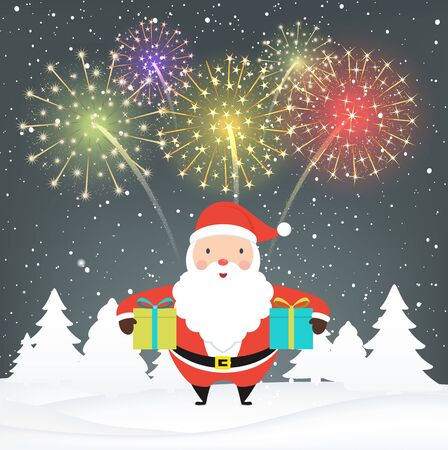 Santa Claus with gifts on snowy background. Festive colorful fireworks at night.