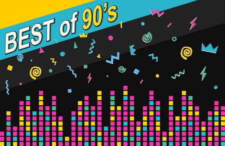 Best of 90s retro poster. Sound waves, equalizer scale on dark background. Vektoros illusztráció