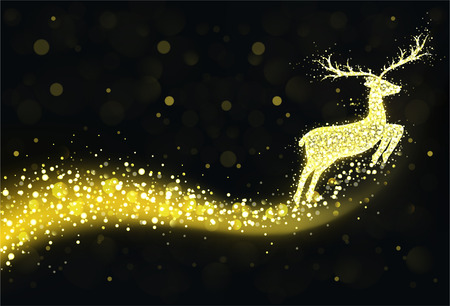Christmas reindeer silhouette with golden twinkling lights. 일러스트
