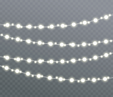 Christmas glowing lights, garlands, holiday decorations. Isolated New Year lighting effects.