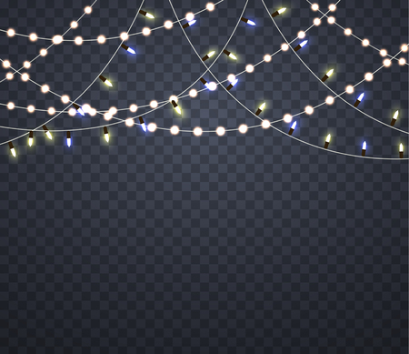 Light garlands. Isolated glowing lights on Christmas.