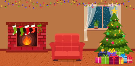 interior window: Christmas room interior with fireplace, armchair and green Christmas tree by the window. Illustration