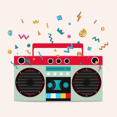 レトロなステレオ カセット プレーヤー。音楽センターは、音の波を発行しています。  イラスト・ベクター素材