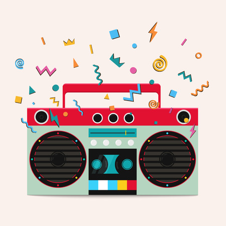 Retro stereo cassette player. Music center publishes sound waves. Illustration