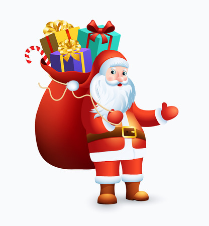 Santa Claus with big bag full of gifts on white background. Illustration