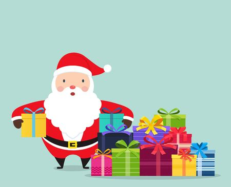 Santa Claus with gifts in hands. Santa Claus is standing in the middle of a huge heap of gifts. 矢量图像