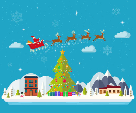 Winter landscape Happy New Year and Merry Christmas. Snowbound town, Santa Claus in a sleigh with gifts decorated Christmas tree. Blue background with clouds and falling snowflakes. Illustration