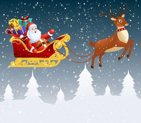 Santa Claus in einem Schlitten mit einer großen Tasche voller Geschenke. Hintergrund des verschneiten Winters des Winters mit Tannenbäumen.