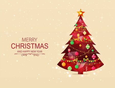 bright christmas tree: Red polygonal Christmas tree with decorations on bright snowy background.