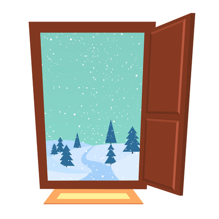 yule tide: Open door in winter. New Year Christmas snowfall in the hills outside the house.