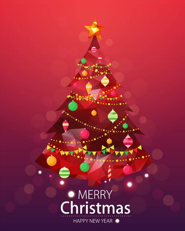 greeting cards: Merry christmas and happy new year red background. Red xmas pine tree in polygonal style with ornaments.