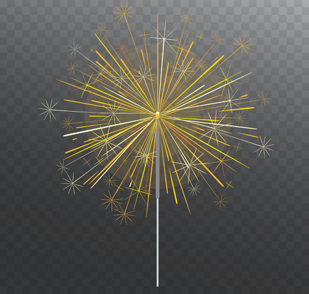 Festive Bengal light. Lighting magical fireworks, bright yellow sparks isolated on transparent background.