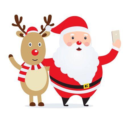 Kerstman selfie Kerstman met een hert. Nieuwjaar foto op telefoon cartoon karakters.