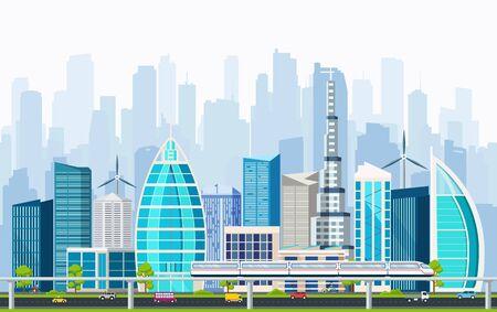 interchange: Business smart city with large modern buildings and transport interchange. Internet concept city life. Illustration